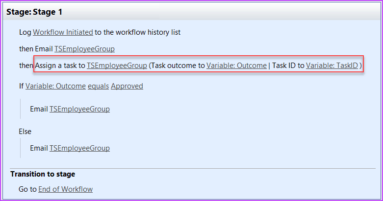 assign a task action in sharepoint workflow