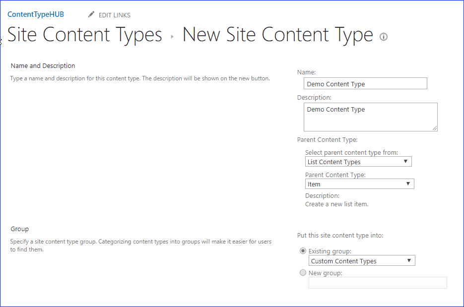 create and use content type hub in sharepoint 2019