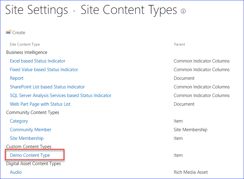 How to Create Content Type Hub in SharePoint
