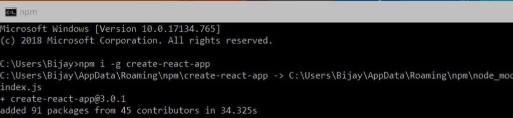 npm i create react app