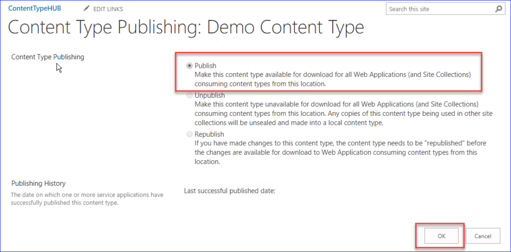 sharepoint 2013 create and use content type hub