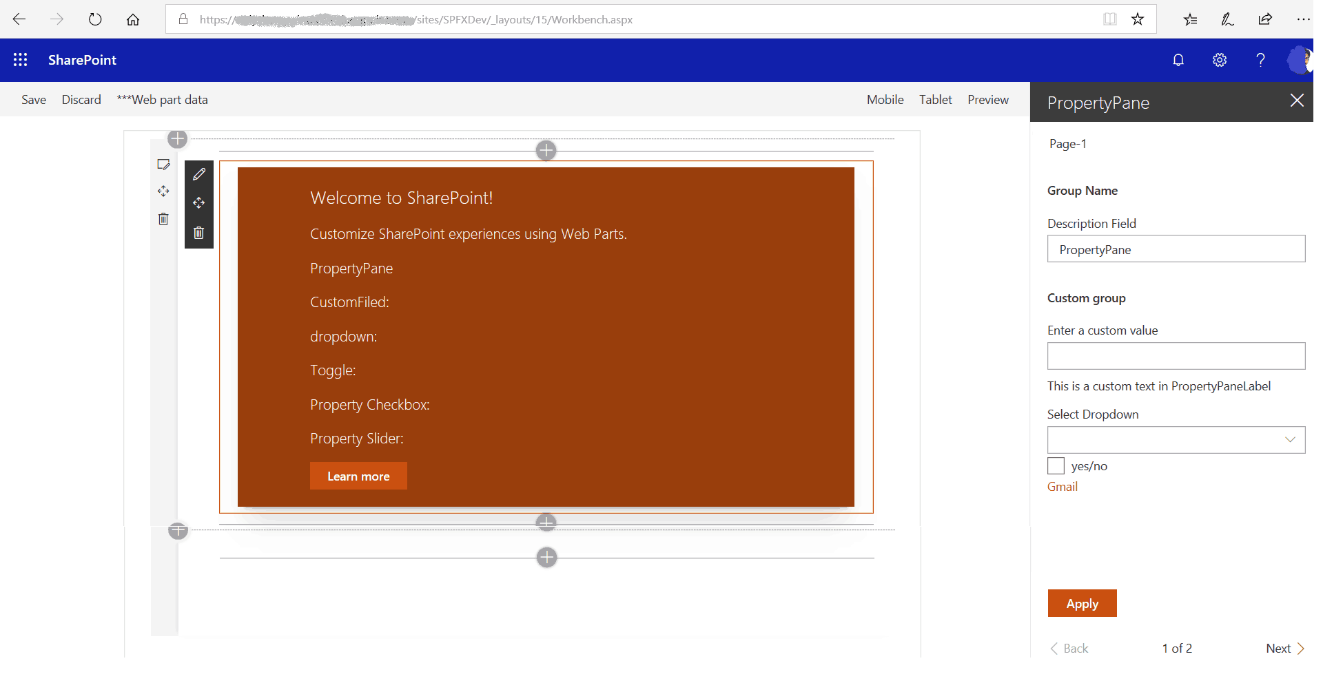 sharepoint framework client side web parts nonreactive property pane
