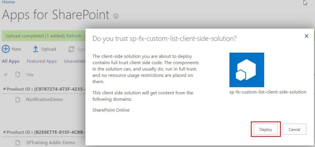 sharepoint framework provisioning custom list