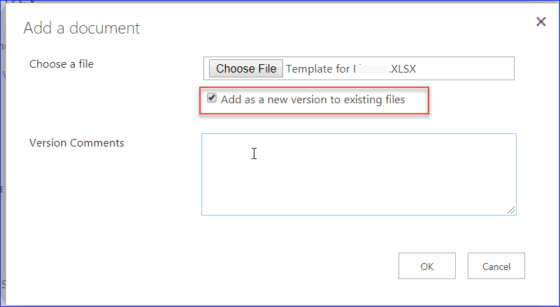 uncheck add as a new version to existing files in sharepoint online