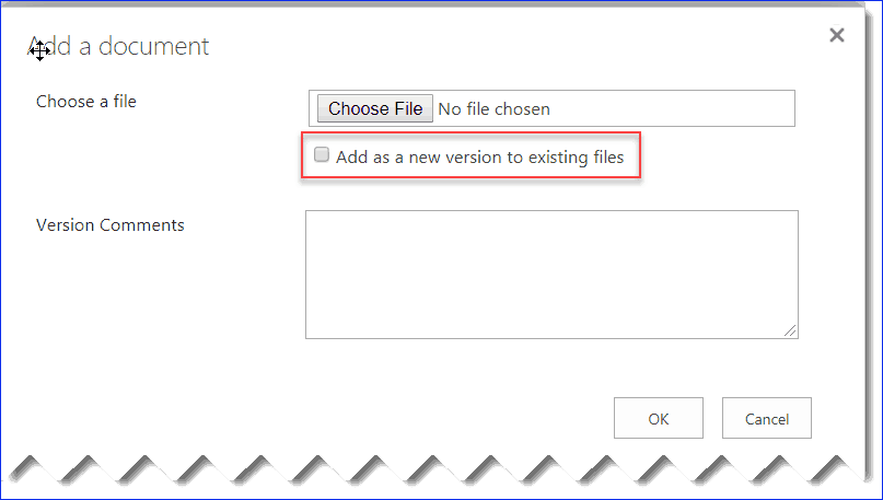uncheck add as a new version to existing files sharepoint