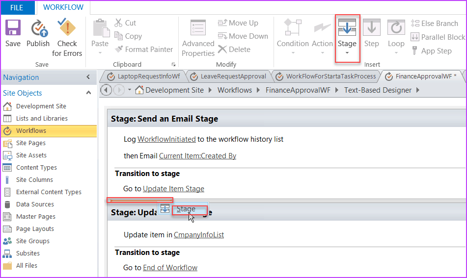 what is workflow stage in sharepoint designer
