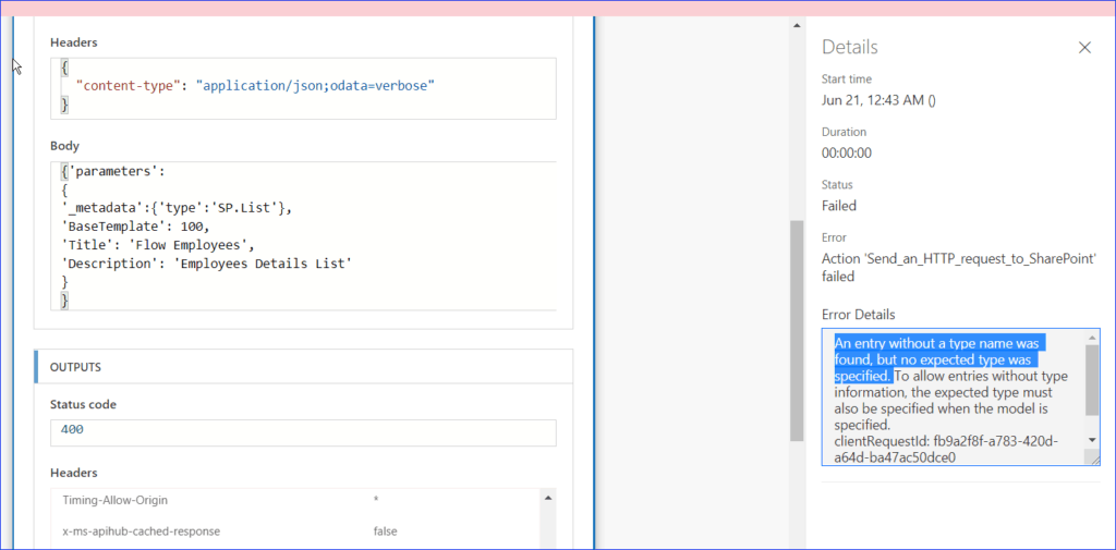 An entry without a type name was found, but no expected type was specified error in Microsoft Flow