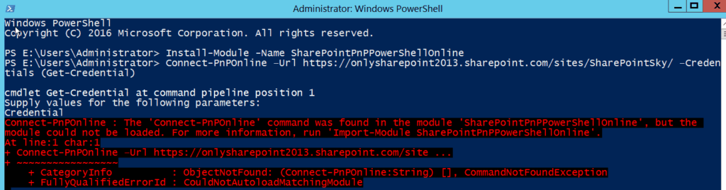 Connect-PnPOnline The Connect-PnPOnline command was found in the module SharePointPnPPowerShellOnline