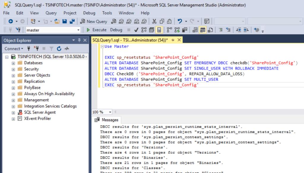 sharepoint configuration database suspect