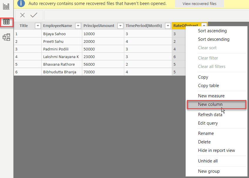 power bi calculated column based on filter