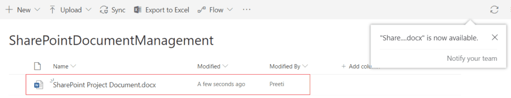 SharePoint document library upload files