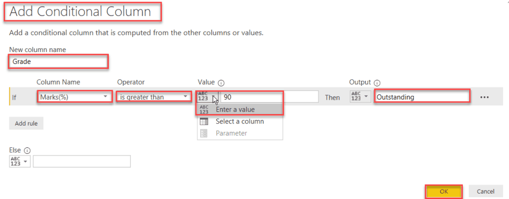 power bi conditional column contains