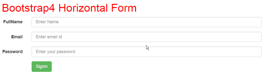 bootstrap 4 horizontal form