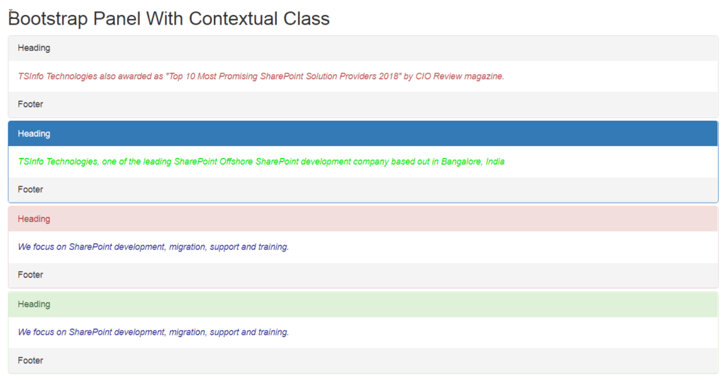 bootstrap 4 panel with contextual classes