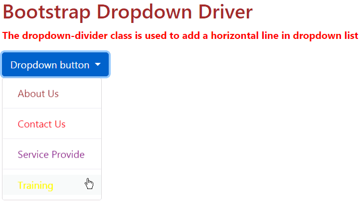bootstrap dropdown example