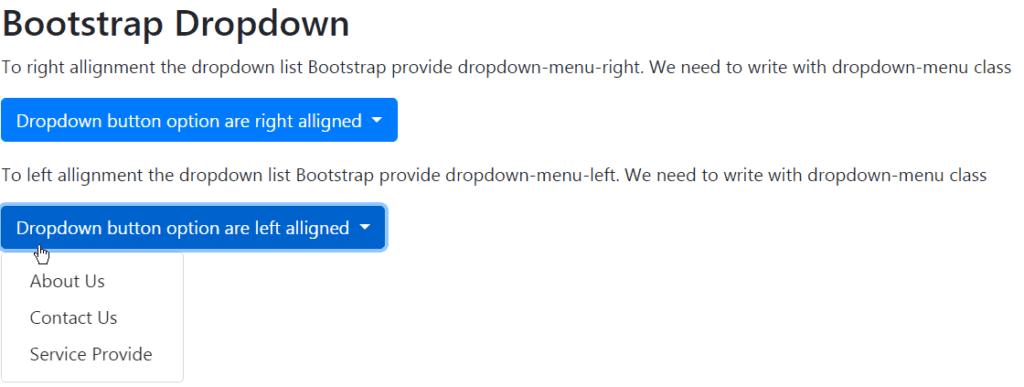 bootstrap dropdown menu align left