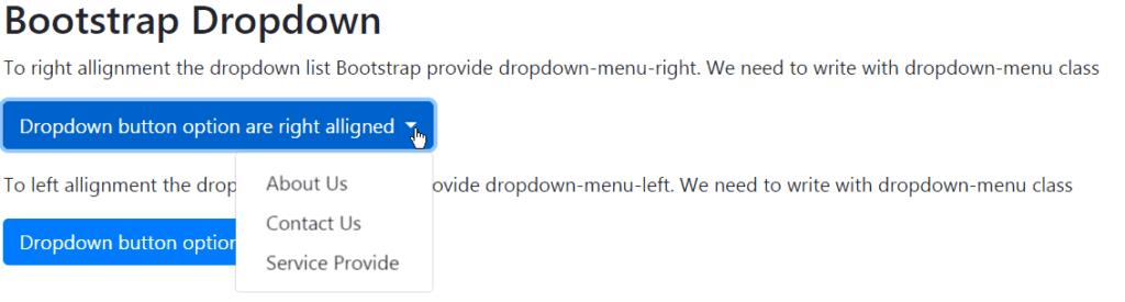 bootstrap dropdown menu right align