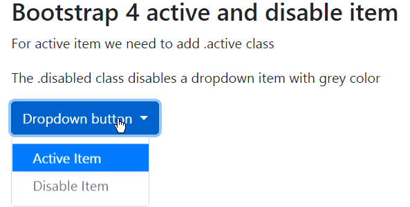 disable and active items in bootstrap 4