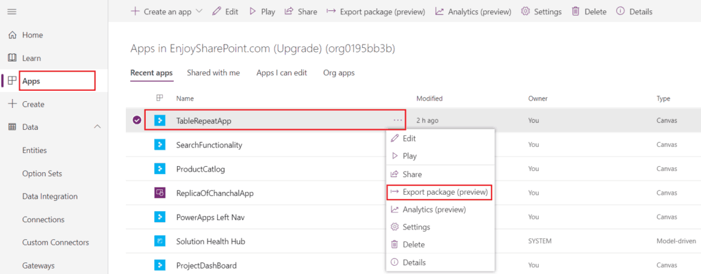 Export PowerApps from one Tenant to another Tenant
