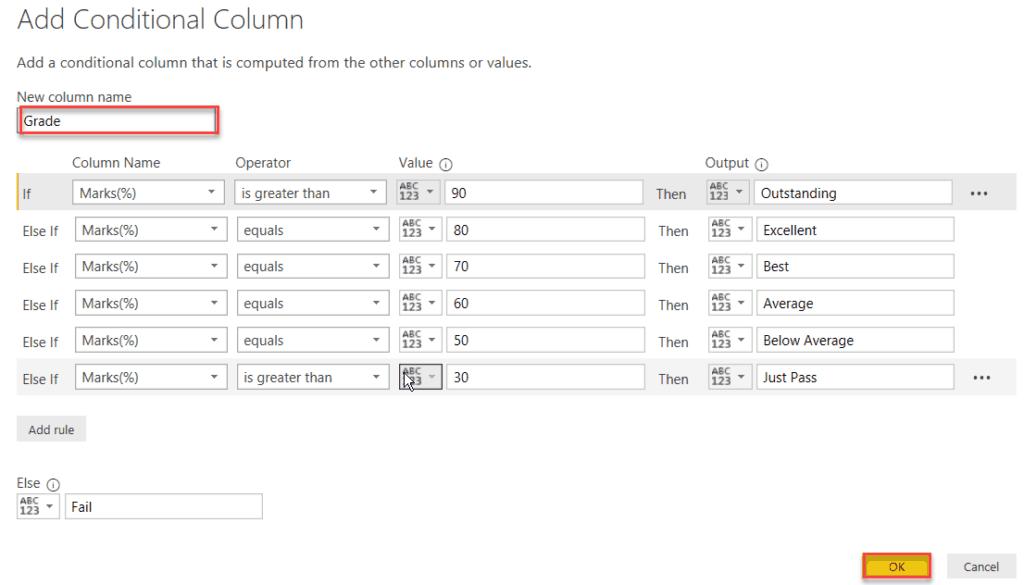 power bi conditional column between values