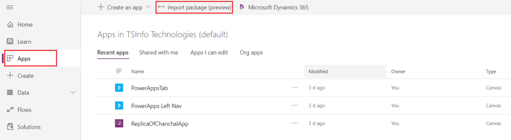 powerapps move app to different environment