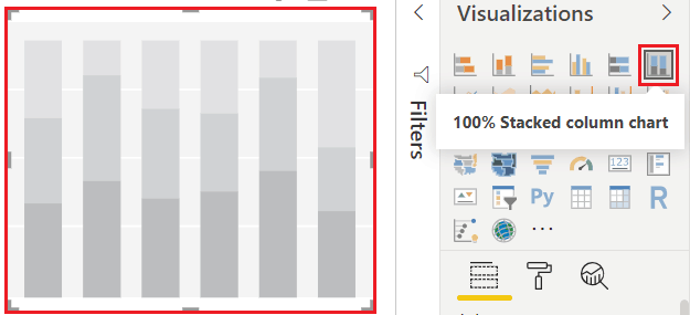 100 stacked column chart in power bi