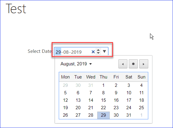 Bind current date to date picker control using jQuery