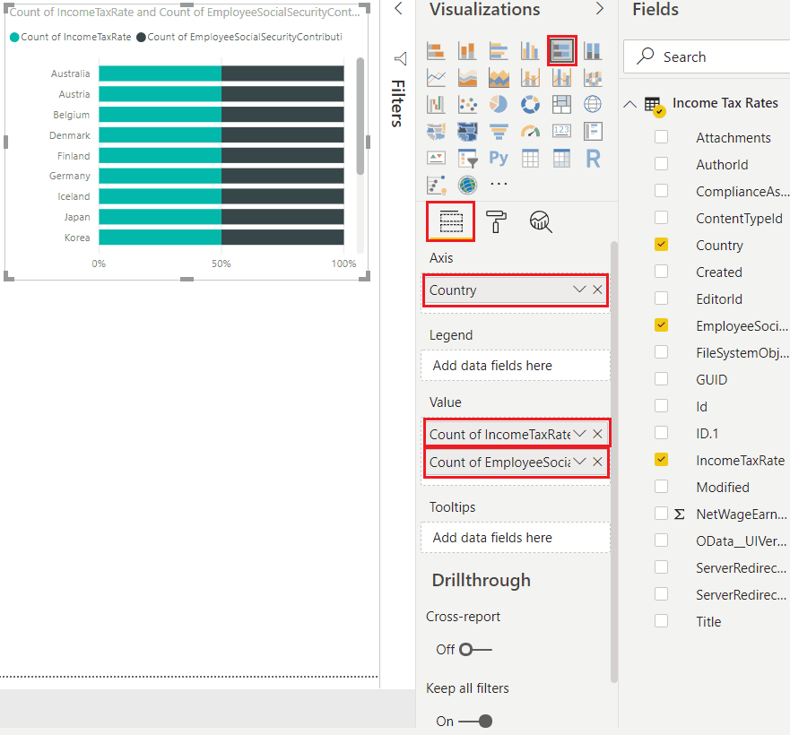 how to create 100 stacked bar chart in power bi