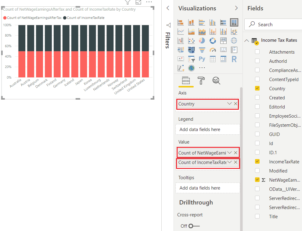how to create 100 stacked column chart in power bi
