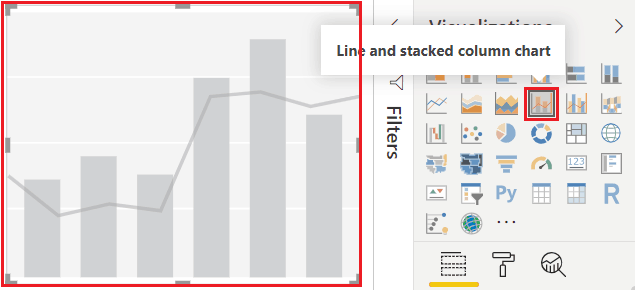 power bi line and stacked column chart