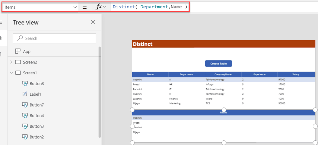 Distinct() PowerApps function example