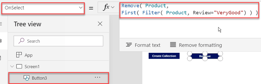 powerapps remove function