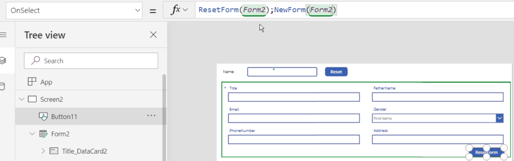 how to use Reset() and ResetForm() powerapps functions