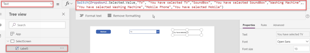 Powerapps functions Switch()