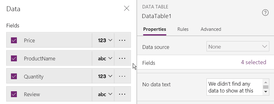 powerapps table() function