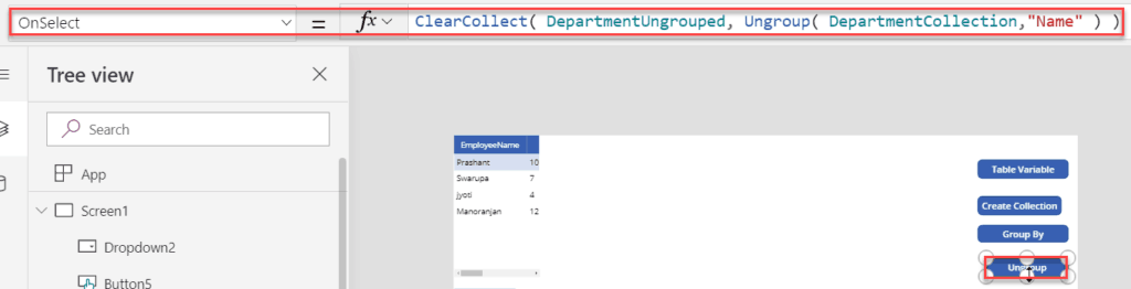 powerapps ungroup function