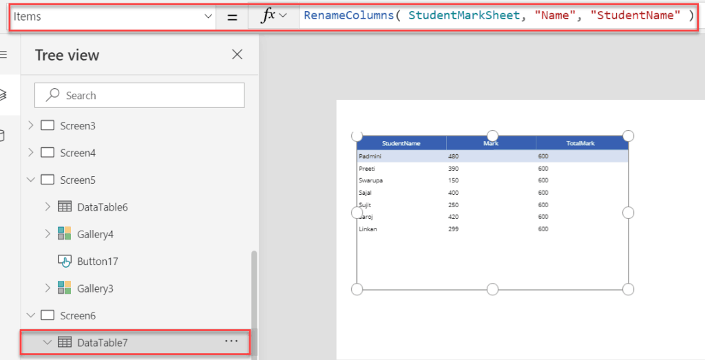 powerapps table rename columns