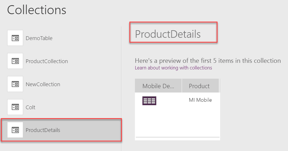 powerapps table function