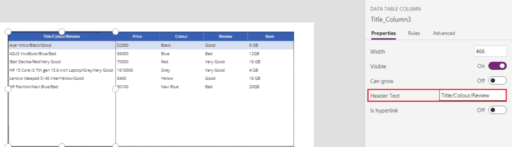 powerapps add column to data table