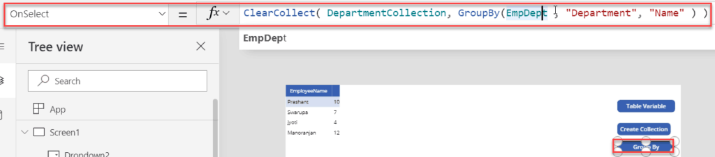 Filter() Function in PowerApps Table