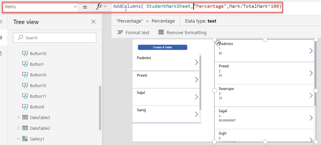 powerapps table add columns