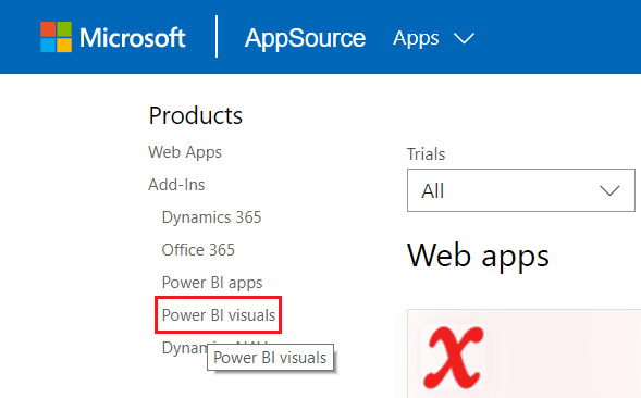 Download Custom Visuals from Microsoft AppSource
