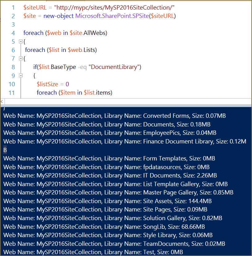 Get SharePoint document library size using PowerShell