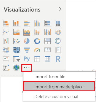 Import a Custom Visual from the market place in Power BI