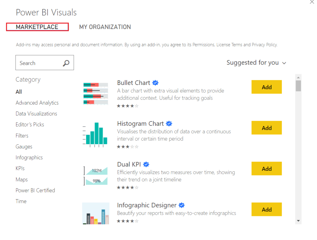 Power BI Import a Custom Visual from the market place
