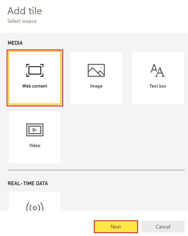 add web content in power bi dashboard