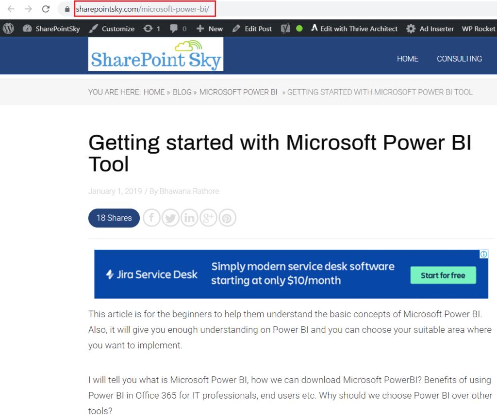 add web content tile in power bi