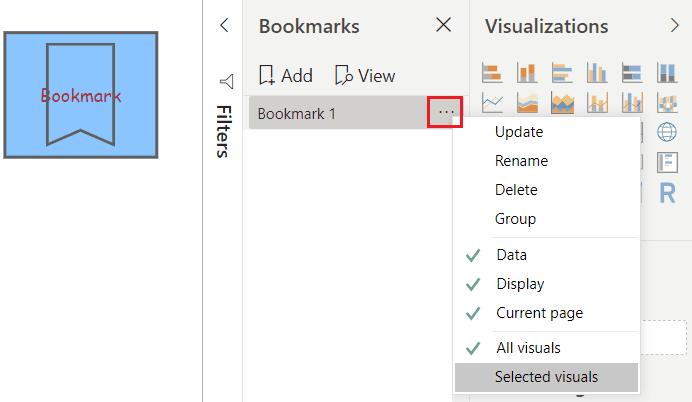 create Bookmark button in Power BI
