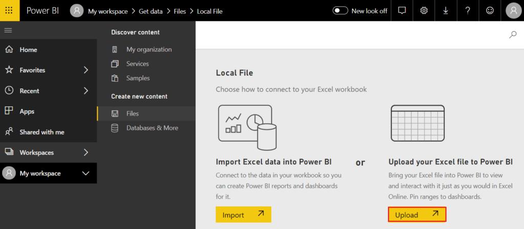 how to upload Power BI workbook