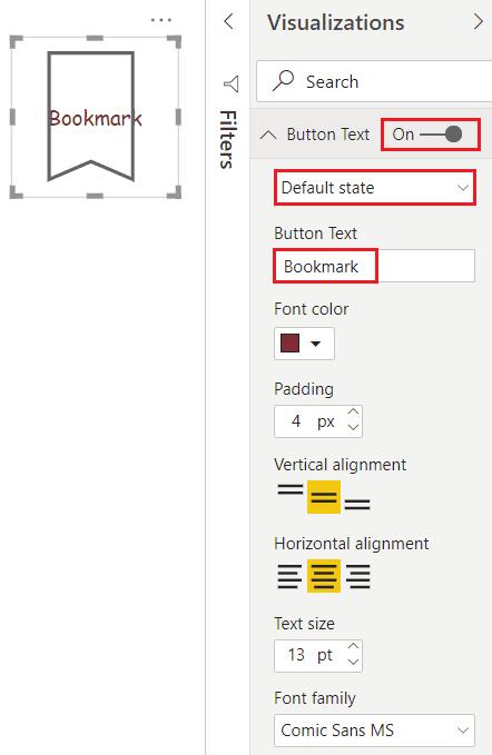 power bi bookmarks buttons